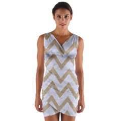 CHEVRON9 WHITE MARBLE & SAND (R) Wrap Front Bodycon Dress