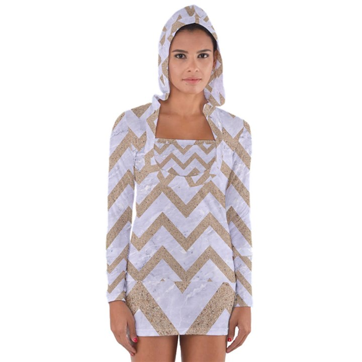 CHEVRON9 WHITE MARBLE & SAND (R) Long Sleeve Hooded T-shirt
