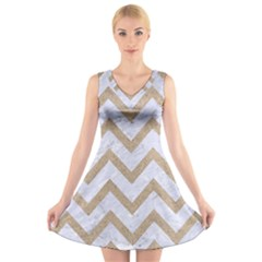 CHEVRON9 WHITE MARBLE & SAND (R) V-Neck Sleeveless Skater Dress