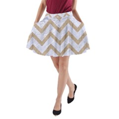 CHEVRON9 WHITE MARBLE & SAND (R) A-Line Pocket Skirt