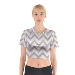 CHEVRON9 WHITE MARBLE & SAND (R) Cotton Crop Top