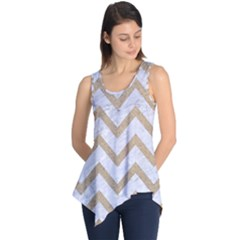 CHEVRON9 WHITE MARBLE & SAND (R) Sleeveless Tunic