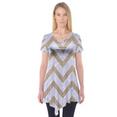 CHEVRON9 WHITE MARBLE & SAND (R) Short Sleeve Tunic