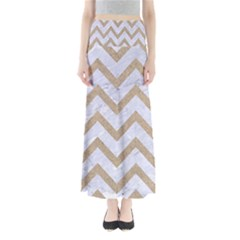 CHEVRON9 WHITE MARBLE & SAND (R) Full Length Maxi Skirt