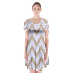 CHEVRON9 WHITE MARBLE & SAND (R) Short Sleeve V-neck Flare Dress