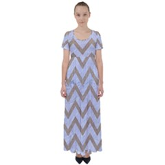 CHEVRON9 WHITE MARBLE & SAND (R) High Waist Short Sleeve Maxi Dress