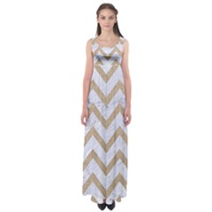 CHEVRON9 WHITE MARBLE & SAND (R) Empire Waist Maxi Dress