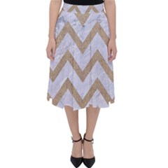 CHEVRON9 WHITE MARBLE & SAND (R) Folding Skater Skirt