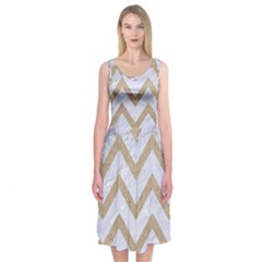 CHEVRON9 WHITE MARBLE & SAND (R) Midi Sleeveless Dress