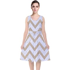 CHEVRON9 WHITE MARBLE & SAND (R) V-Neck Midi Sleeveless Dress
