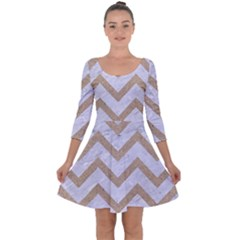 CHEVRON9 WHITE MARBLE & SAND (R) Quarter Sleeve Skater Dress