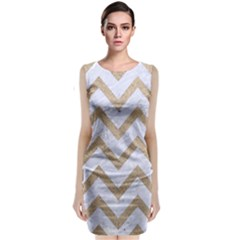 CHEVRON9 WHITE MARBLE & SAND (R) Classic Sleeveless Midi Dress