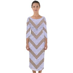 CHEVRON9 WHITE MARBLE & SAND (R) Quarter Sleeve Midi Bodycon Dress