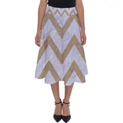 CHEVRON9 WHITE MARBLE & SAND (R) Perfect Length Midi Skirt