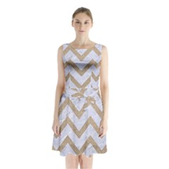CHEVRON9 WHITE MARBLE & SAND (R) Sleeveless Waist Tie Chiffon Dress