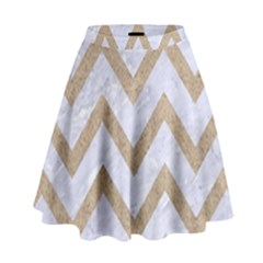 CHEVRON9 WHITE MARBLE & SAND (R) High Waist Skirt