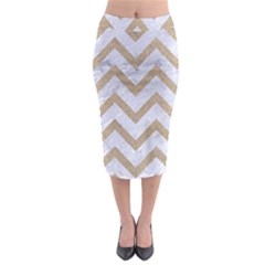 CHEVRON9 WHITE MARBLE & SAND (R) Midi Pencil Skirt