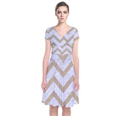 CHEVRON9 WHITE MARBLE & SAND (R) Short Sleeve Front Wrap Dress