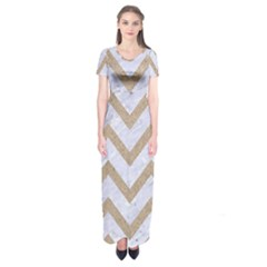 CHEVRON9 WHITE MARBLE & SAND (R) Short Sleeve Maxi Dress