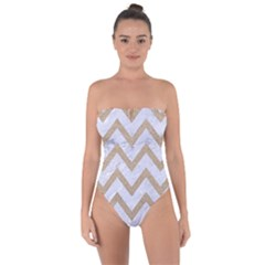CHEVRON9 WHITE MARBLE & SAND (R) Tie Back One Piece Swimsuit