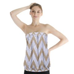 CHEVRON9 WHITE MARBLE & SAND (R) Strapless Top
