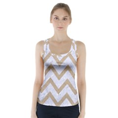 CHEVRON9 WHITE MARBLE & SAND (R) Racer Back Sports Top