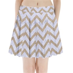 CHEVRON9 WHITE MARBLE & SAND (R) Pleated Mini Skirt