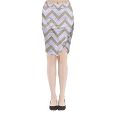 CHEVRON9 WHITE MARBLE & SAND (R) Midi Wrap Pencil Skirt