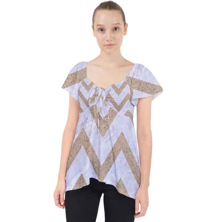 CHEVRON9 WHITE MARBLE & SAND (R) Lace Front Dolly Top