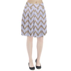 CHEVRON9 WHITE MARBLE & SAND (R) Pleated Skirt