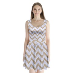 CHEVRON9 WHITE MARBLE & SAND (R) Split Back Mini Dress