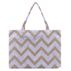 CHEVRON9 WHITE MARBLE & SAND (R) Zipper Medium Tote Bag