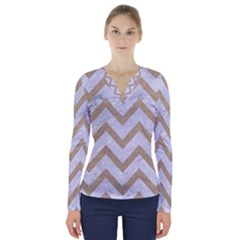 CHEVRON9 WHITE MARBLE & SAND (R) V-Neck Long Sleeve Top