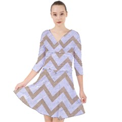 CHEVRON9 WHITE MARBLE & SAND (R) Quarter Sleeve Front Wrap Dress