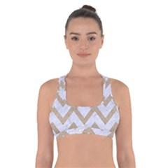 CHEVRON9 WHITE MARBLE & SAND (R) Cross Back Sports Bra