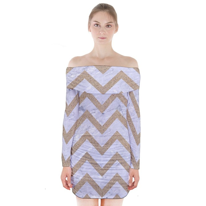 CHEVRON9 WHITE MARBLE & SAND (R) Long Sleeve Off Shoulder Dress