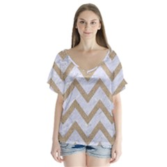 CHEVRON9 WHITE MARBLE & SAND (R) V-Neck Flutter Sleeve Top
