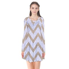 CHEVRON9 WHITE MARBLE & SAND (R) Flare Dress