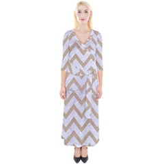 CHEVRON9 WHITE MARBLE & SAND (R) Quarter Sleeve Wrap Maxi Dress