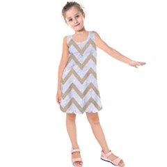 CHEVRON9 WHITE MARBLE & SAND (R) Kids  Sleeveless Dress