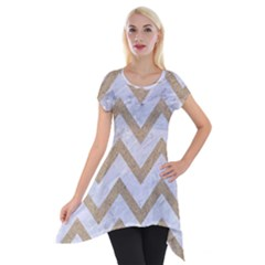 CHEVRON9 WHITE MARBLE & SAND (R) Short Sleeve Side Drop Tunic
