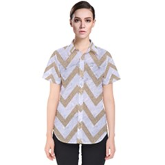 CHEVRON9 WHITE MARBLE & SAND (R) Women s Short Sleeve Shirt