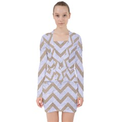 CHEVRON9 WHITE MARBLE & SAND (R) V-neck Bodycon Long Sleeve Dress