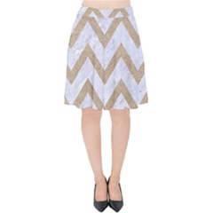 CHEVRON9 WHITE MARBLE & SAND (R) Velvet High Waist Skirt