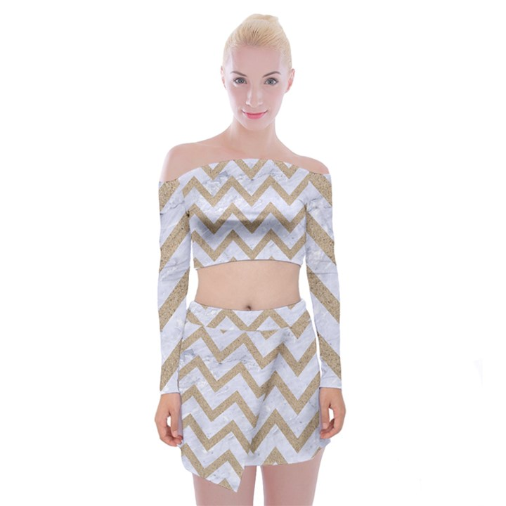 CHEVRON9 WHITE MARBLE & SAND (R) Off Shoulder Top with Mini Skirt Set