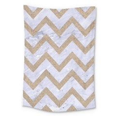 CHEVRON9 WHITE MARBLE & SAND (R) Large Tapestry