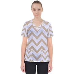 CHEVRON9 WHITE MARBLE & SAND (R) Scrub Top