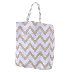 CHEVRON9 WHITE MARBLE & SAND (R) Giant Grocery Zipper Tote