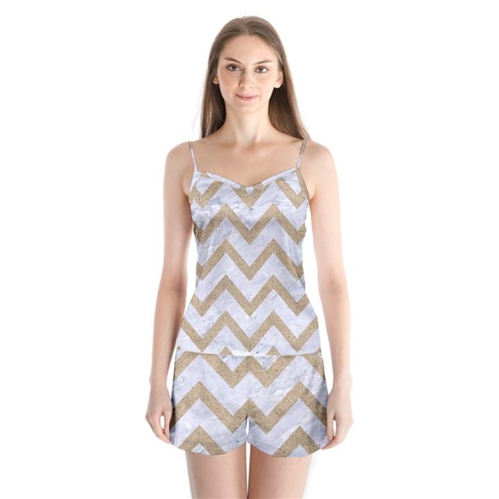CHEVRON9 WHITE MARBLE & SAND (R) Satin Pajamas Set