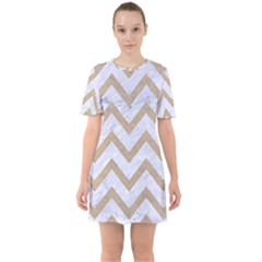 CHEVRON9 WHITE MARBLE & SAND (R) Sixties Short Sleeve Mini Dress